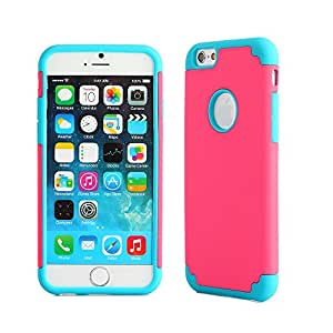 iPhone 6 Case, oneCase™ Hybrid High Impact Shockproof Protective Case Hard Plastic+Soft Silicon Rubber Armor Defender Case Cover for Apple iPhone 6 4.7 inch Screen with Stylus & Screen Protector (2 piece-Rose Red/Blue)