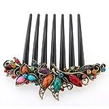 FACILLA® Flower Mix Color Metal Rhinestone Chinese Stylish Wedding Hair Pin Hair Comb Hair Clip 4.22