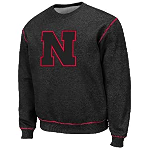 Nebraska Cornhuskers NCAA Heathered Blackout Crew Sweatshirt by Unknown