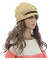 New Women Baggy Beret Chunky Knit Knitted Braided Beanie Hat Ski Cap