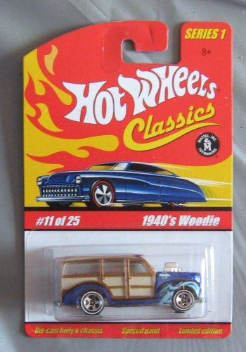 Hot Wheels Classics Series 1 1940's Woodie BLUE 11/25 #11 1:64 Scale Collectible Die Cast Car with a Special Spectraflame Paint