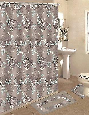 Taupe U0026 Blue 15 Piece Bathroom Accessory Set Bath Rugs Shower Curtain U0026  Rings