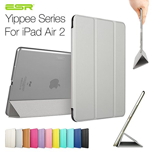 Ipad Air 2 Case,Esr Yippee Color Series Smart Cover+Transparent Back Cover [Ultra Slim] [Light Weight] [Scratch-Resistant Lining] [Perfect Fit] [Auto Wake Up/Sleep Function] For[2014 Release] Ipad Air 2 Cover (Space Grey)