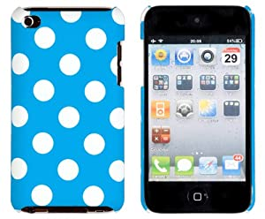 Blue Polka Dot Embossed Hard Case for Apple iPod Touch 4, 4G (4th Generation) - Includes DandyCase Keychain Screen Cleaner [Retail Packaging by DandyCase]