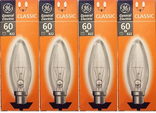 4-x-ge-general-electric-60w-candle-light-bulbs-bc-b22-b35-classic-clear-incandescent-bayonet-cap-dim