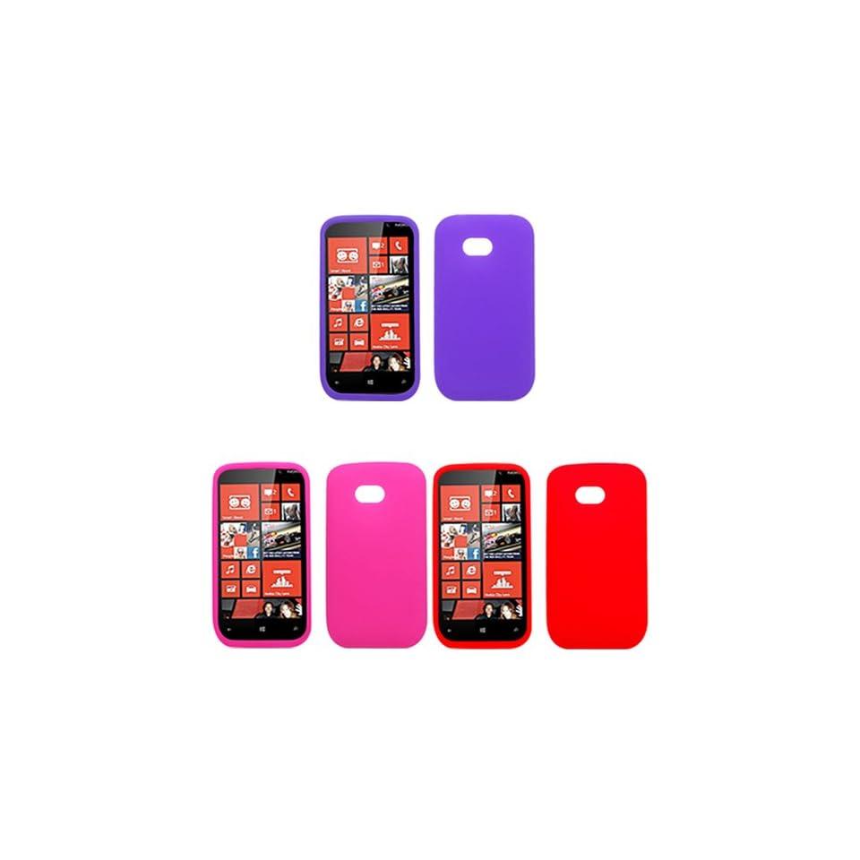 iFase Brand Nokia Lumia 822 Combo Solid Red Silicon Skin Case Faceplate Cover + Solid Purple Silicon Skin Case Faceplate Cover + Solid Hot Pink Silicon Skin Case Faceplate Cover for Nokia Lumia 822 Cell Phones & Accessories