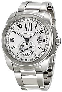 Cartier Men's W7100015 Calibre de Cartier Silver Opaline Dial Watch