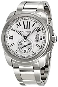 Cartier Men's W7100015 Calibre de Cartier Silver-Tone Stainless Steel Opaline Dial Watch