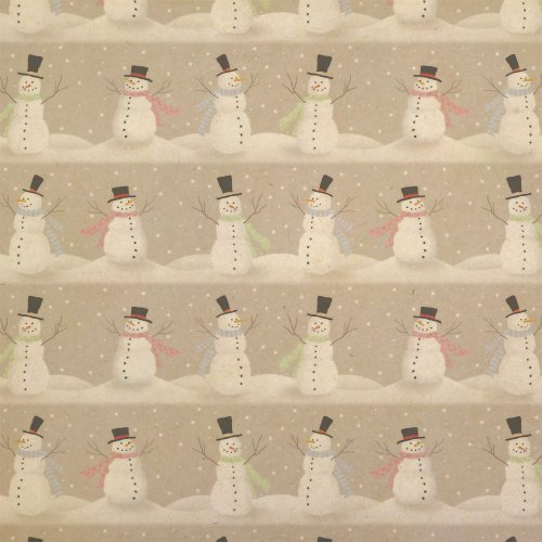 Happy Snowmen Christmas Kraft Present Gift Wrap Wrapping Paper