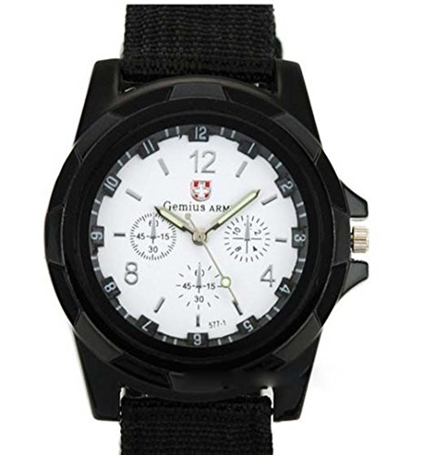 Watch Army Black and White Military Camper Watch