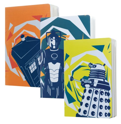 Official Doctor Who Stationery - A5 Excercise Books - Set Of 3 (Dalek, Cyberman, Tardis)