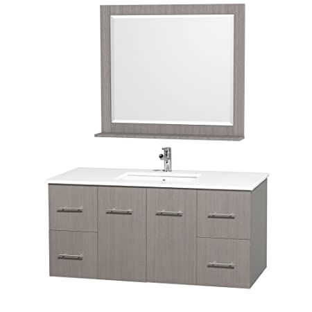Wyndham Collection Centra 48 inch Single Bathroom Vanity in Grey Oak with White Man-Made Stone Top with Square Porcelain Undermount Sink