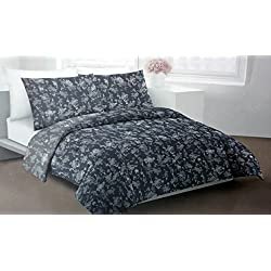 DKNY Bedding 3 Piece King Duvet Cover Set Floral Pattern in Shades of Light and Dark Gray -- Silhouette Floral