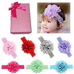 Elesa Miracle Hair Accessories Baby Girl\'s Gift Box with Bow Flower Hair Headband (7pc 4.3\
