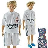 E-TING Handmade Football Sports Clothes Uniform Outfits for Ken Barbie Dolls
