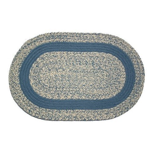 Oval Braided Rug (3'x5'): Oatmeal Williamsburg Blue,- Williamsburg Blue Band