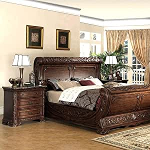 Cannes bedroom set gondola sleigh bed dark for Bedroom furniture amazon