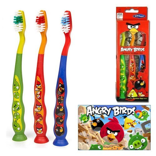 Angry Birds Soft Toothbrush Kids Childrens Oral Care Dental 3 Pack Suction Cup front-633574