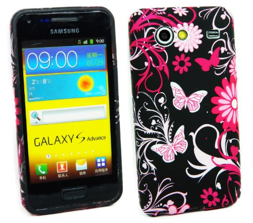 Kit Me Out IT - Samsung Galaxy S Advance i9070 Android Protezione Custodia / Cover / Skin Gel TPU Rosa Giardino