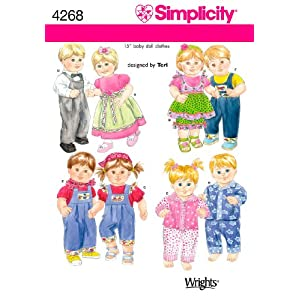 Simplicity Sewing Pattern 4268 Doll Clothes, One Size