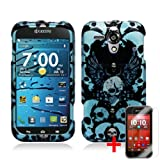 KYOCERA HYDRO EDGE C5215 BLUE BLACK SKULL COVER SNAP ON HARD PLASTIC CASE +FREE SCREEN PROTECTOR from [ACCESSORY ARENA]