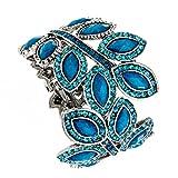 Wide Teal Rhinestone Leaf Metal Casting Bangle Bracelet