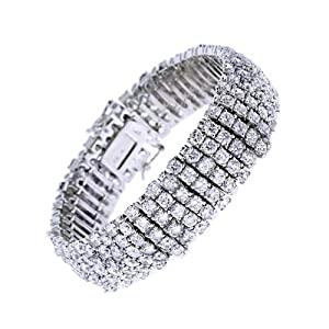 Women's 925 Sterling Silver Tennis Bracelet Glistening 4 Row Round Cut CZ Diamonds - Incl. ClassicDiamondHouse Free Gift Box & Cleaning Cloth