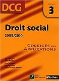 echange, troc Gilles Lhuilier, Anne Le Nouvel, Marie-France Volpelier, Isabelle Vialard - DCG Epreuve 3 : Droit social 2009/2010 - Corrigé des applications