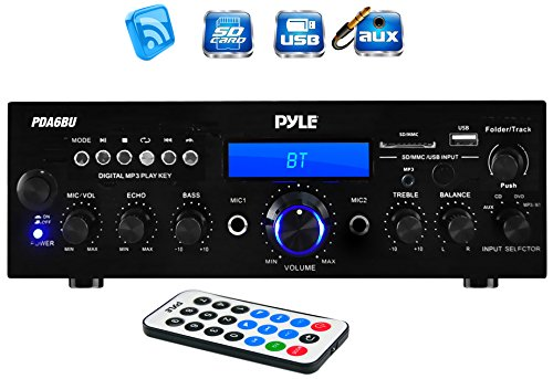 Cheap Pyle PDA6BU 200 Watt Bluetooth Stereo Amplifier Receiver with Remote Control and FM Antenna