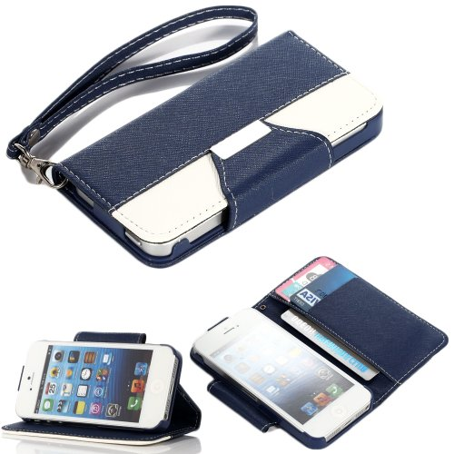 Mylife (Tm) Navy Blue And White - Textured Koskin Faux Leather (Lanyard Strap + Card And Id Holder + Magnetic Detachable Closing) Slim Wallet For Iphone 4/4S (4G) 4Th Generation Touch Phone (External Rugged Synthetic Leather With Magnetic Clip + Internal