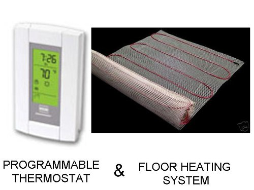 10 Sqft Mat, Electric Radiant Floor Heat Heating System with Aube Digital Floor Sensing Thermostat