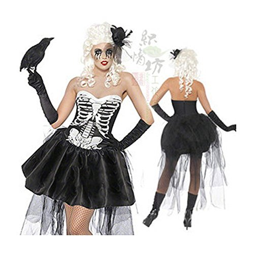 Women's Halloween Costumes Corset Black Skeleton Dress With Trimmed in Black Tulle