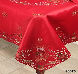 Holiday christmas embroidered poinsettia candle tablecloth 88 quot square