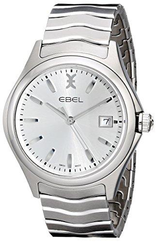 De cuero de los hombres EBEL 1216200 de Visualización analógico de cuarzo suizo reloj de plata