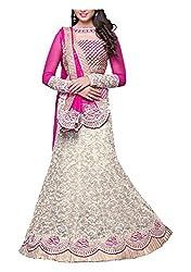 Arya Dress Maker Women's Net Lehenga Choli Fabric (Pink and Silver)