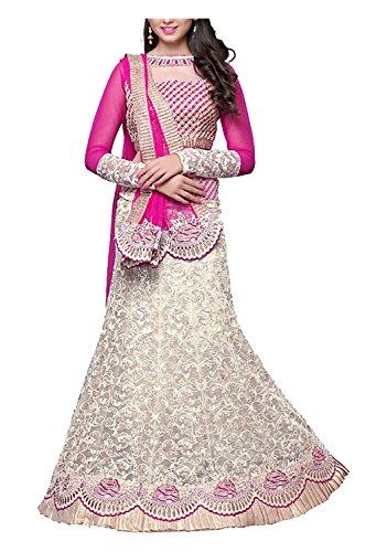 Arya-Dress-Maker-Womens-Net-Lehenga-Choli-Fabric-Pink-and-Silver