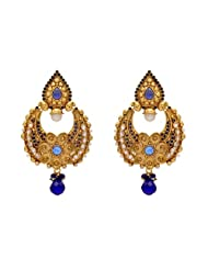 ANTIQUE GOLDEN STONE STUDDED FLOWER STYLE CHAAND BAALI EARRINGS/HANGINGS (BLUE) - PCAE2077