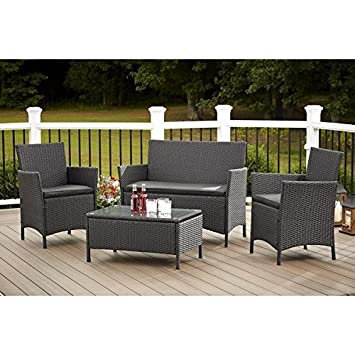Patio Furniture Set Conversation 4 Piece Outdoor Table Chairs and Loveseat (Weather Resistant)