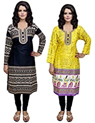 Indistar Women 1 Cotton & 1 Rayon Printed Stitched Kurti