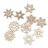 「ノーブランド品」10個 雪の結晶型 クリスマス用 木製 ツリー デコレーション オーナメント 5.1cm