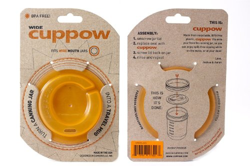 Cuppow Orange Wide Mason Canning Jar Drinking Lid