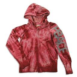 Vintage Havana - Big Girls\' Long Sleeve Tie Dye Peace Sweatshirt Jacket, Burgundy 23195-10