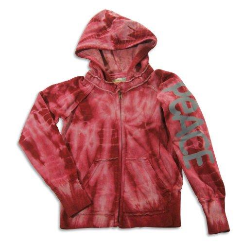 Vintage Havana - Big Girls' Long Sleeve Tie Dye Peace Sweatshirt Jacket, Burgundy 23195-12 (Yin Yang Hoodie Tie Dye compare prices)