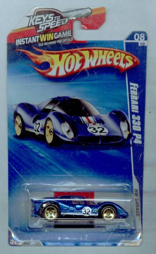 Hot Wheels 2010-076/240 Hw Garage 8/10 Ferrari 330 P4 Keys to Speed Instant Win Card BLUE 1:64 Scale - 1