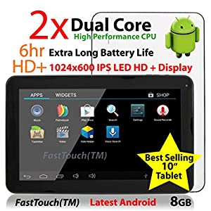 "FastTouch(TM) 10"" Google Android 8GB Tablet PC, Android 4.4, Dual Cortex-A9, 1.2GHz, Dual Camera, WiFi, Capacitive Multi-Touch Screen, Very Fast & Slim, Comes Ready To Go With All The Latest Apps, FastTouch(TM)"