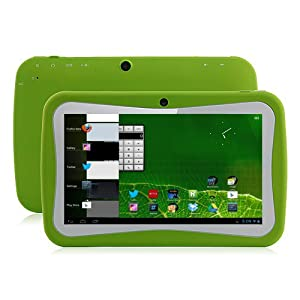 Klastor Green Rugged Boys Kids Android 4.1 Tablet PC 8gb WiFi - SKYPE - DUAL Camera -1024 x 600 Capacitive Touchscreen - ideal christmas or birthday gift with Kid Market and parental Controls - Google Play store can be password protected (Green) by Klasto