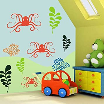 Cool Sea Marine Animals Wall Decal Ocean Theme Wall Quote Vinyl Nursery Decal Kids Room Wall Art