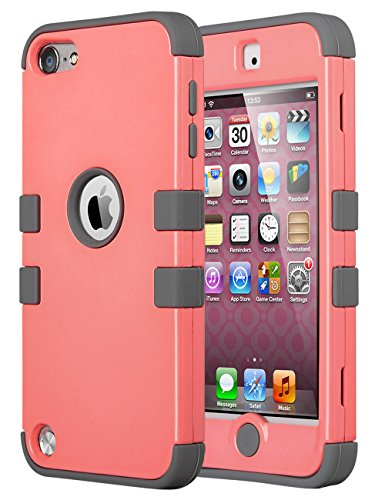 iPod Touch 6 Case,iPod Touch 5 Case,ULAK 3in1 Anti Slip iPod Touch Case Hybrid with Soft Flexible Inner Silicone Skin Protective Case Cover for Apple iPod Touch 5 6th Generation(Coraly Pink + Gray) (Ipod Cases 5 3in1 compare prices)