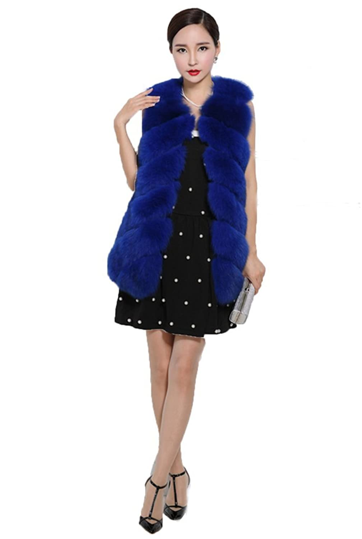 YR Lover Damen Warm Echter Lange ganze Haut Fuchs Pelz Weste Mantel bestellen