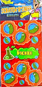 Dr Stinky's PICKLE Scratch-and-Sniff Stickers, 2 sheets 4 x 6 3/4, 26 stickers
